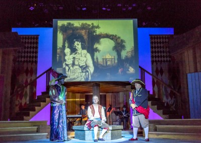 <em>The Comedy of Errors</em> by William Shakespeare, directed by Peter Zazzali - Kansas Repertory Theatre (KRT); Set Design: Mark Reaney; Costume Design: Casey McNamara; Lighting Design:  Pamela Roderíguez-Montero