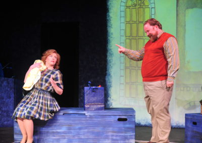 <em>The Mascot</em> by Jerry Hickey, directed by Peter Zazzali - The Living Room Theatre; Set Design/Lighting Design: Dennis Christilles; Costume Design: Kelly Vogel; Projection Design: Rana Esfandiary